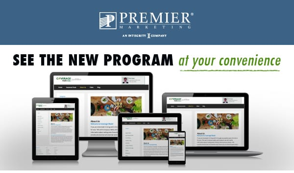 Premier Marketing® An integrity Company | See the new program - at your convenience (picture of webinar on computer, iPad, phone, and laptop)